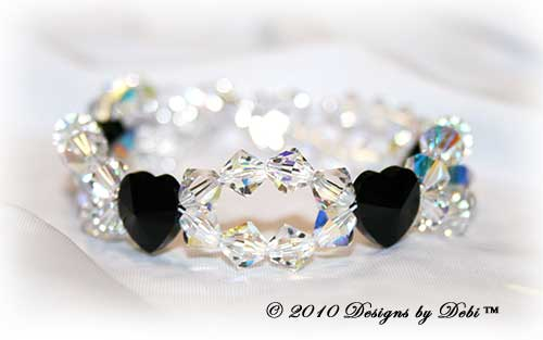 Designs by Debi Handmade Jewelry Swarovski Crystal Jet Black Hearts and Crystal AB Bicones Bracelet with a Sterling Silver Filigree Double Heart Hook 'n Eye Clasp