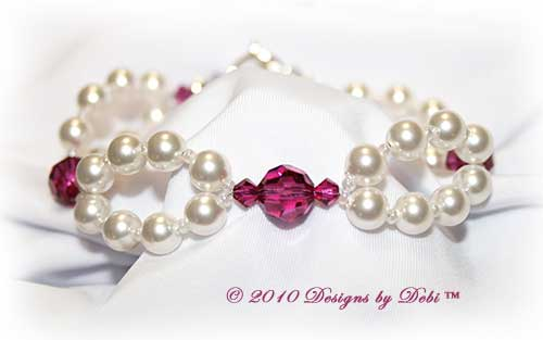 Designs by Debi Handmade Jewelry Swarovski White Pearl and Fuchsia Crystal Bicones Double Strand Bracelet with Sterling Silver Toggle Clasp