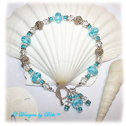 Designs by Debi Handmade Jewelry Aqua Dreams Aqua Swirled Handmade Lampwork, Bali Silver and Swarovski Crystal Bracelet with Sterling Silver Twisted Rope Toggle Clasp ~ OOAK