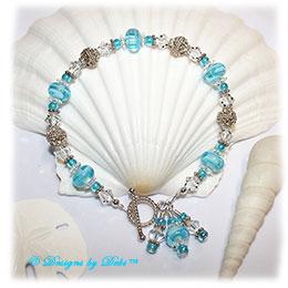 Designs by Debi Handmade Jewelry Aqua Dreams Aqua Swirled Handmade Lampwork, Bali Silver and Swarovski Crystal Bracelet with Sterling Silver Twisted Rope Toggle Clasp ~ OOAK