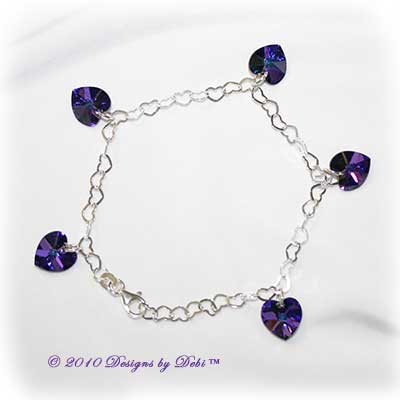 Handmade Jewelry Sterling Silver Heart Link Chain and Swarovski Crystal Heliotrope Hearts Charm Bracelet with Lobster Clasp