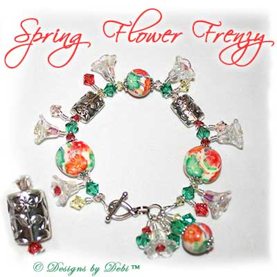 Designs by Debi Handmade Jewelry Spring Flower Frenzy Polymer Clay Florals, Swarovski Crystal Green, Yellow and Orange Bicones, Steling Silver Flower Barrel Beads and Sterling Teardrop Toggle Bracelet with Flower Dangles ~ OOAK