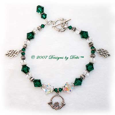 Designs by Debi Handmade Jewelry Sterling Silver and Swarovski Crystal AB and Emerald Bicones Claddagh and Celtic Knot Bracelet with a Claddagh Toggle Clasp