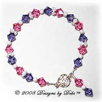 Designs by Debi Handmade Jewelry Sterling Silver Roses with Swarovski Crystal Rose and Tanzanite Bicones Bracelet with a Rose Tab Clasp