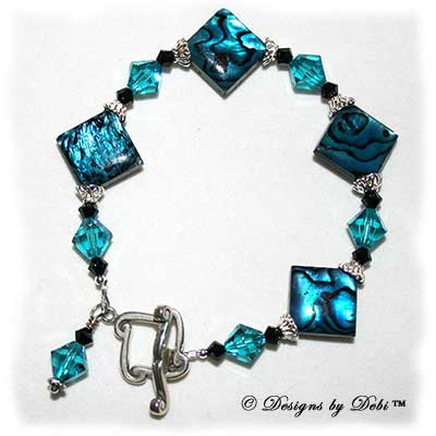 Designs by Debi Handmade Jewelry Paua Shell Diamonds, Sterling Silver & Swarovski Crystal Bracelet with Scrolled Diamond Toggle Clasp