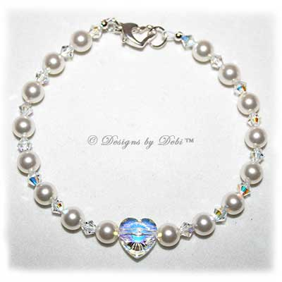 Designs by Debi Handmade Jewelry Swarovski White Pearls, Crystal AB Heart and Crytal AB Bicones Bracelet with Sterling Silver Heart Lobster Clasp for Wedding Bride