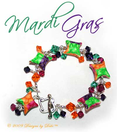 "Designs by Debi Handmade Jewelry ""Mardi Gras"" Purple, Fuchsia, Gold and Green Artisan Handmade Polymer Clay and Swarovski Crystal with a Sterling Silver Square Toggle Clasp ~ OOAK"