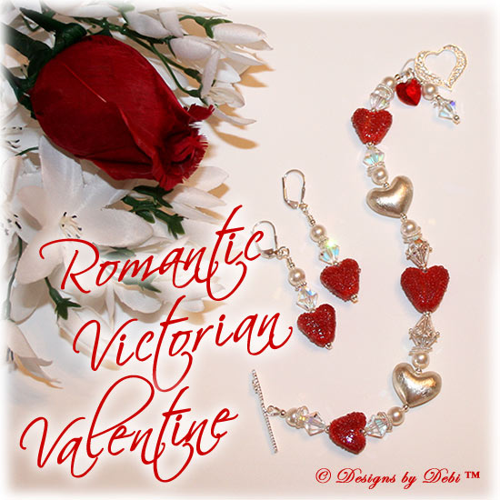 Designs by Debi Handmade Jewelry for Charity one-of-a-kind Lampwork Jewelry Set Romantic Victorian Valentine. Bracelet and Earrings set with red lampwork hearts, Bali sterling silver hearts, Swarovski crystal ab bicones, white Swarovski pearls, a Swarovski crystal red heart and a delicate sterling silver filigree heart toggle clasp. ooak