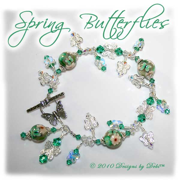 Spring Butterflies One-of-a-Kind Handmade Bracelet and Earrings Set. Bracelet made with artisan handmade polymer clay round beads with green and white flowers and green butterflies, sterling silver butterflies, Swarovski crystal butterflies and Swarovski crystal AB and light emerald bicones with a sterling silver butterfly toggle style clasp.