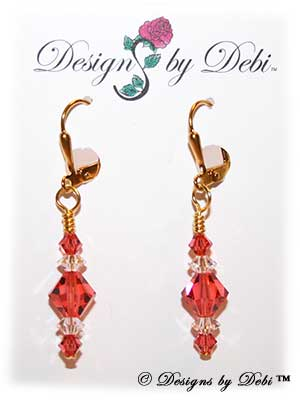 Designs by Debi Handmade Jewelry Signature Collection Earrings Padparadscha and Crystal Earrings with gold plated leverbacks