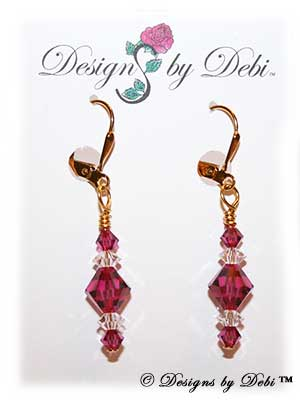 Designs by Debi Handmade Jewelry Signature Collection Earrings Fuchsia and Crystal Earrings with gold plated leverbacks