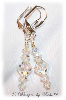 Designs by Debi Handmade Jewelry Signature Collection Earrings Crystal AB and Crystal Earrings with sterling silver plated leverbacks