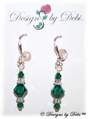 Designs by Debi Handmade Jewelry Signature Collection Earrings Emerald and Crystal Earrings with sterling silver plated leverbacks May Birthstone