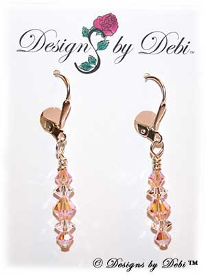 Designs by Debi Handmade Jewelry Signature Collection Earrings Light Peach AB2x and Crystal Earrings with sterling silver plated leverbacks