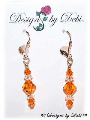 Designs by Debi Handmade Jewelry Signature Collection Earrings Sun and Crystal Earrings with sterling silver plated leverbacks