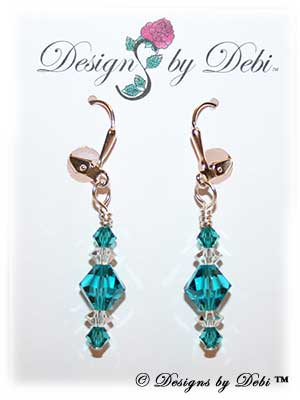 Designs by Debi Handmade Jewelry Signature Collection Earrings Blue Zircon and Crystal Earrings with sterling silver plated leverbacks December Birthstone