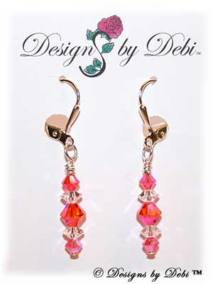 Designs by Debi Handmade Jewelry Signature Collection Earrings Red Topaz AB2x and Crystal Earrings with sterling silver plated leverbacks