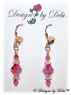Designs by Debi Handmade Jewelry Signature Collection Earrings Padparadscha AB2x and Crystal Earrings with sterling silver plated leverbacks