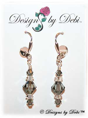 Designs by Debi Handmade Jewelry Signature Collection Earrings Black Diamond and Crystal Earrings with sterling silver plated leverbacks