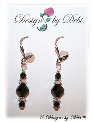 Designs by Debi Handmade Jewelry Signature Collection Earrings Jet and Crystal Earrings with sterling silver plated leverbacks