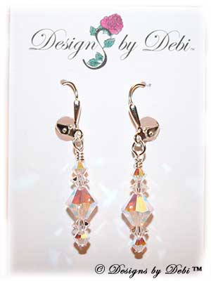 Designs by Debi Handmade Jewelry Signature Collection Earrings Crystal AB2x and Crystal Earrings with sterling silver plated leverbacks