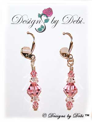 Designs by Debi Handmade Jewelry Signature Collection Earrings Light Rose and Crystal Earrings with sterling silver plated leverbacks