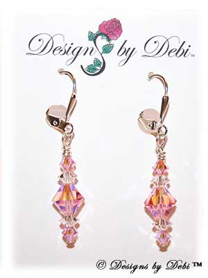 Designs by Debi Handmade Jewelry Signature Collection Earrings Light Rose AB2x and Crystal Earrings with sterling silver plated leverbacks