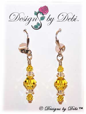 Designs by Debi Handmade Jewelry Signature Collection Earrings Citrine and Crystal Earrings with sterling silver plated leverbacks