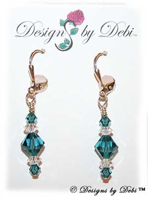 Designs by Debi Handmade Jewelry Signature Collection Earrings Indicolite and Crystal Earrings with sterling silver plated leverbacks