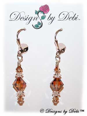 Designs by Debi Handmade Jewelry Signature Collection Earrings Crystal Copper and Crystal Earrings with sterling silver plated leverbacks