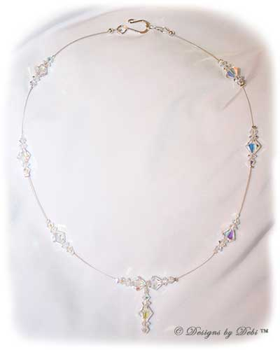 Designs by Debi Handmade Jewelry Signature Collection Necklace in Crystal AB aurora borealis and silver