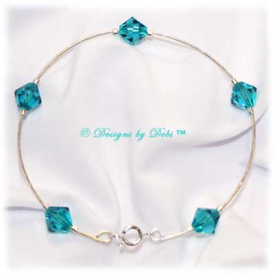 Designs by Debi Handmade Jewelry Signature Collection True Bangle Bracelet in Blue Zircon