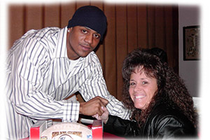 Debi with David Givens of the New England Patriots