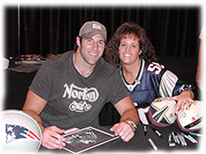 Debi with Mike Vrabel of the New England Patriots
