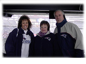 Debi, Mom and Dad at the New England Patriots Super Bowl Sendoff
