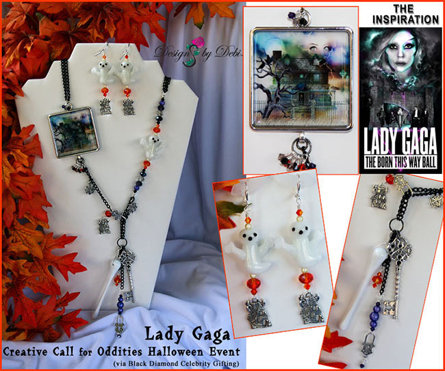 Copyright Designs by Debi Handmade Jewelry - Set of jewelry for Lady Gaga's Creative Call for Oddities Halloween Event