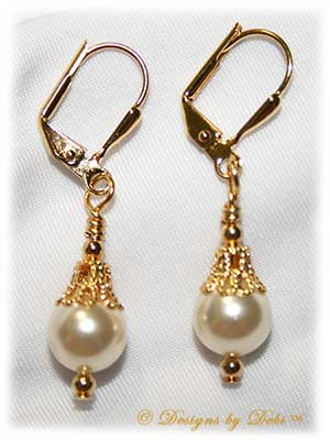 Designs by Debi Handmade Jewelry Fancy White Pearl and Gold Leverback Earrings