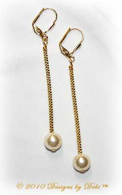 Designs by Debi Handmade Jewelry Long White Pearl and Gold Leverback Earrings