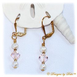 Designs by Debi Handmade Jewelry Swarovski Crystal Silk Bicones and White Freshwater Pearls Gold Plated Leverback Earrings