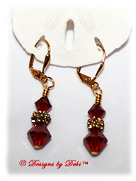 Designs by Debi Handmade Jewelry Swarovski Crystal Siam Red Bicones and Gold Flowers Gold Plated Leverback Earrings