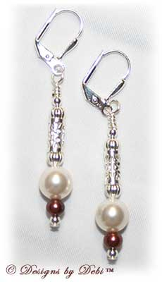 Designs by Debi Handmade Jewelry White and Burgundy Pearl Silver Filigree Leverback Earrings
