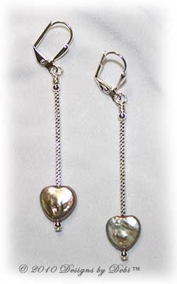 Designs by Debi Handmade Jewelry Long Irridescent Heart-Shaped Pearl Silver Leverback Earrings