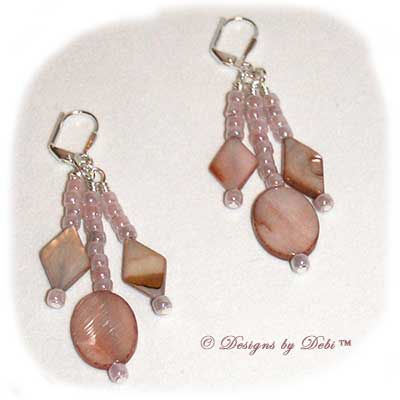 Designs by Debi Handmade Jewelry Beige / Taupe Shell Mother of Pearl Dangly Silver Leverback Earrings ~ OOAK
