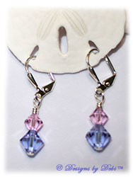 Designs by Debi Handmade Jewelry Swarovski Crystal Rosaline and Violet Bicones Sterling Silver Plated Leverback Earrings