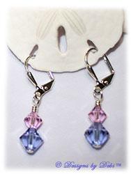 Designs by Debi Handmade Jewelry Swarovski Crystal Rosaline and Violet Bicones Sterling Silver Plated Leverback Earrings