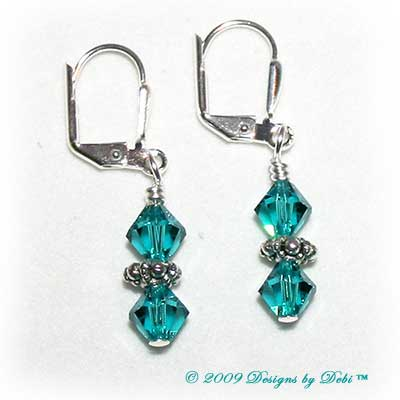 Designs by Debi Handmade Jewelry Blue Zircon Swarovski Crystal Bicones and Sterling Silver Plated Leverback Earrings