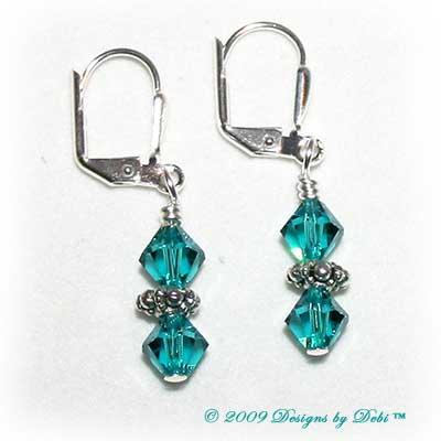 Designs by Debi Handmade Jewelry Blue Zircon Swarovski Crystal Bicones and Sterling Silver Plated Leverback Earrings