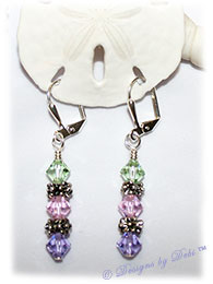 Designs by Debi Handmade Jewelry Swarovski Crystal Chrysolite, Rosaline and Violet Bicones and Silver Flower Spacers Sterling Silver Plated Leverback Earrings
