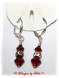 Designs by Debi Handmade Jewelry Swarovski Crystal Siam Red Bicones and Silver Flowers Sterling Silver Plated Leverback Earrings
