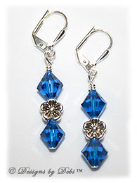 Designs by Debi Handmade Jewelry Swarovski Crystal Capri Blue Bicones and Silver Flowers Sterling Silver Plated Leverback Earrings